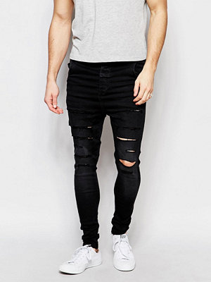 Jeans - Siksilk Drop Crotch Skinny Jeans With Distressing