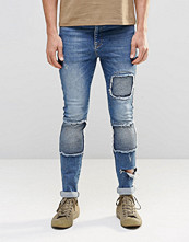 Jeans - ASOS Super Skinny Jeans With Biker Styling In Blue