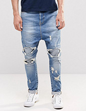 Jeans - ASOS Drop Crotch Jeans With Extreme Rips In Mid Blue