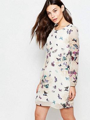 Yumi Long Sleeve Shift Dress In Garden Butterfly Print
