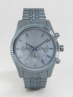 Michael Kors Lexington Chronograph Blue Watch In Stainless Steel MK8480