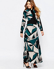 Liquorish Maxi Dress With Pussybow In Geo Print - Teal/black