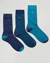 Strumpor - Feraud 3 Pack in Modal Cotton Multi Navy and Teal Geo