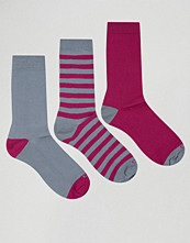 Strumpor - Ciao Italy 3 Pack Sock in Modal Cotton Grey and Pink Multi