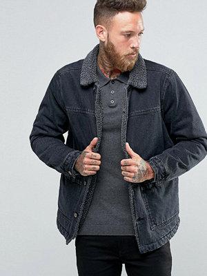 ASOS Borg Lined Denim Jacket in Black Wash