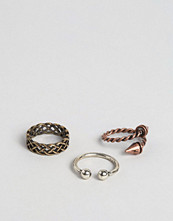 Smycken - ASOS Ditsy Rope Effect Ring Pack