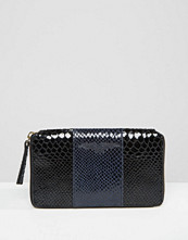 Plånböcker - Urbancode Colour Block Leather Purse With Faux Snake Panel