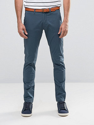 Byxor - Selected Homme Slim Fit Chino with Stretch and Leather Belt