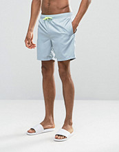 Badkläder - ASOS Swim Shorts In Pastel Blue With Neon Drawcord Mid Length