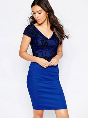 Paper Dolls Lace Overlay Midi Dress With Bow Waist