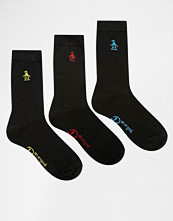 Strumpor - Penguin 3 Pack Black Socks with Multi Embroidery