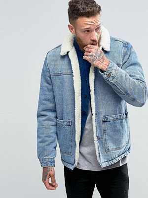 ASOS Borg Lined Denim Jacket in Blue Wash
