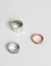 Smycken - ASOS Textured Ring Pack In Burnished Finish