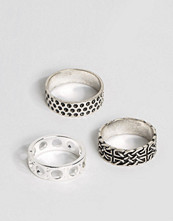 Smycken - ASOS Pattern Ring Pack In Burnished Finish