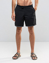 Badkläder - ASOS Swim Shorts With Fixed Waistband In Black In Mid Length