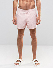 Badkläder - ASOS Swim Shorts With Button Waistband In Pink Mid Length