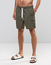 Badkläder - ASOS Swim Shorts With Cargo Pocket And Drawcord Detail In Khaki Mid Length