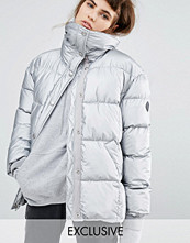 Kappor - Puffa Oversized Padded Jacket In Metallic Silver