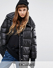 Kappor - Puffa Oversized Longline Padded Jacket With Fishtail Detail