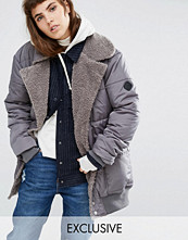 Kappor - Puffa Oversized Longline Bomber Jacket With Faux Shearling Shawl Collar