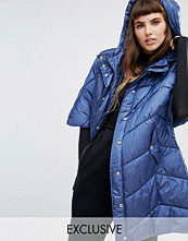 Kappor - Puffa Oversized Cape Jacket With Padded Collar And Hood