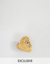 Smycken - Reclaimed Vintage Lion Ring In Gold