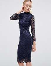 City Goddess High Neck Lace Midi Dress With 3/4 Sleeves