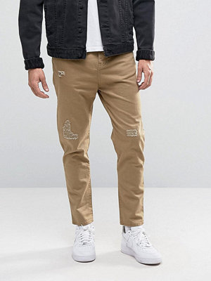 Byxor - Pull&bear Slim Fit Distressed Chinos In Tan