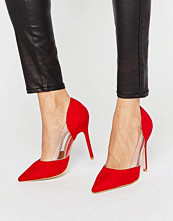 Pumps & klackskor - Public Desire Keely Clear Detail Red Court Shoes