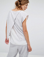 Linnen - Parallel Lines Top With Wrap Back And Double Layer