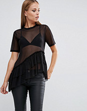 T-shirts - ASOS Top With Layered Ruffle Hem In Mesh