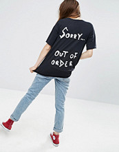 T-shirts - ASOS T-Shirt With Out Of Order Print In Washed Longline Fit