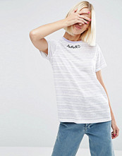 T-shirts - ASOS T-Shirt With AWKWRD Embroidery In Pretty Stripe