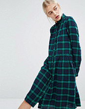 Monki Tartan Check Midi Shirt Dress
