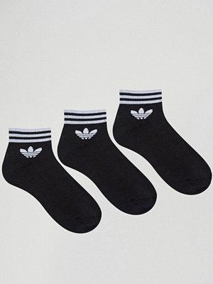 Adidas Originals 3-pack svarta ankelstrumpor med treklöverlogga