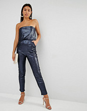 Lavish Alice Sequin Bandeau Cropped Jumpsuit