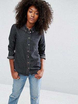 ASOS DESIGN Svart urtvättad jeansskjorta Tvättad svart