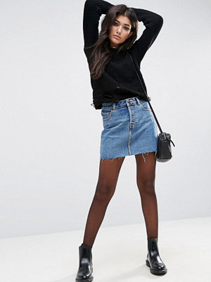 ASOS Denim Low Rise Pelmet Skirt in Mid Stonewash Blue