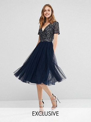 Maya V Neck Midi Tulle Dress with Tonal Delicate Sequins