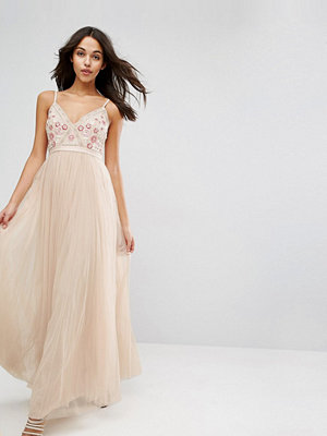 Needle & Thread Prarie Embroidery Tulle Maxi Dress - Petal pink