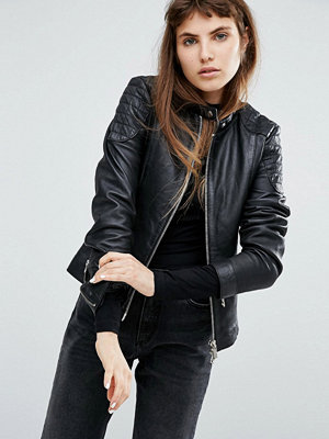 Skinnjackor - Goosecraft Collarless Leather Jacket With Quilted Detail