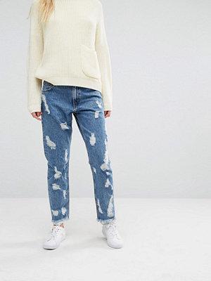 Monki Nibbled Denim Jeans