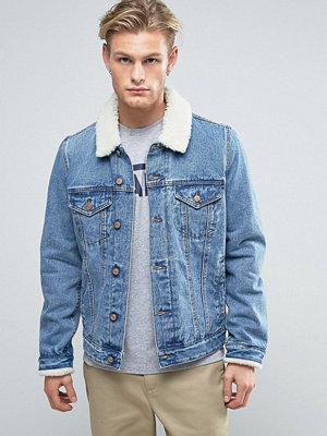 ASOS Denim Jacket with Borg Collar In Mid Wash