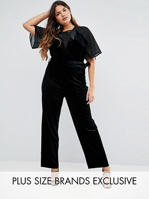Truly You Velvet Jumpsuit With Mesh Insert