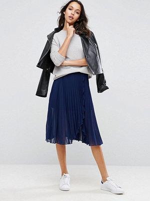 Kjolar - ASOS Pleated Midi Skirt with Wrap Front Detail