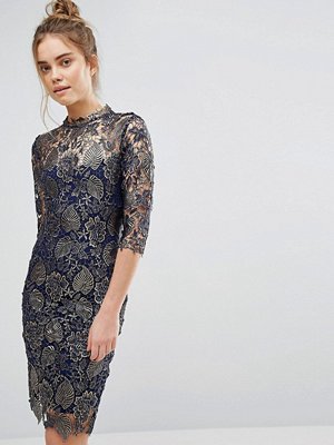 Paper Dolls Metallic Lace Pencil Dress with High neck and 3/4 sleeve