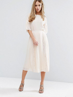 Warehouse Lace Insert Pleated Midi Skirt