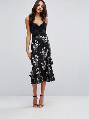 Warehouse Floral Printed Ruffle Midi Skirt