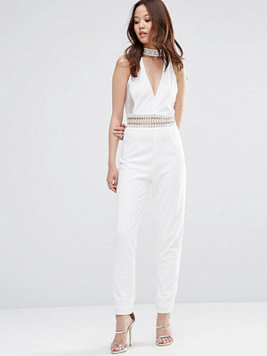 Girl In Mind Kylie Cut Out Crochet Trim Jumpsuit