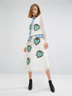 House of Holland Heart Mesh Midi Skirt